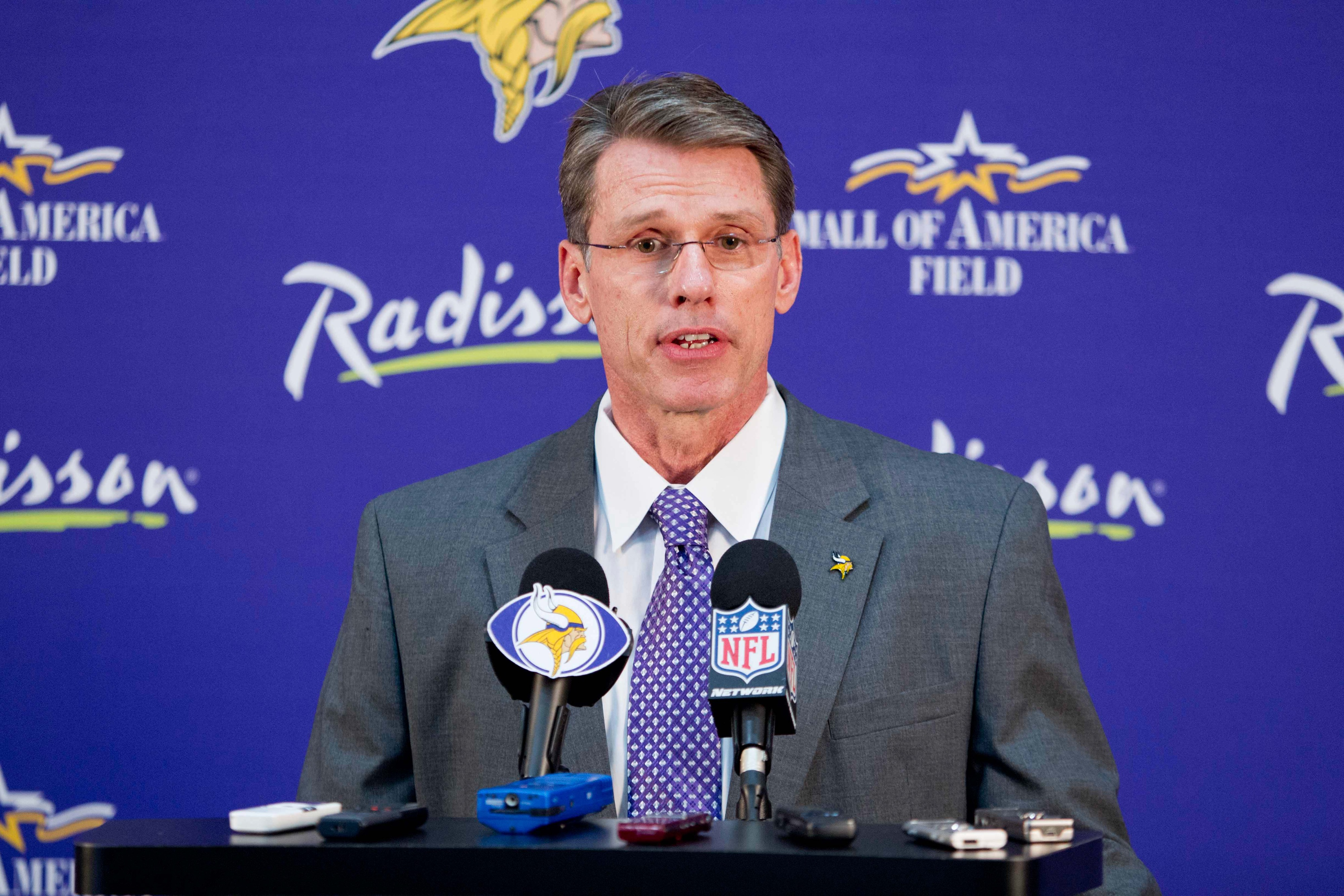 Radisson hotel, who's logo you can see on the banner behind GM Rick Spielman, has suspended their sponsorship of the Vikings