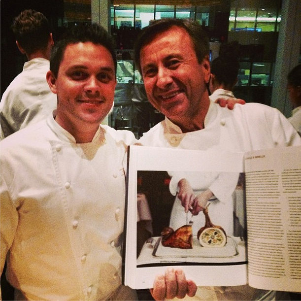 """<a href=""""http://instagram.com/p/oqnDGEjZew/"""">Kaysen with Daniel Boulud</a> today, his last day."""