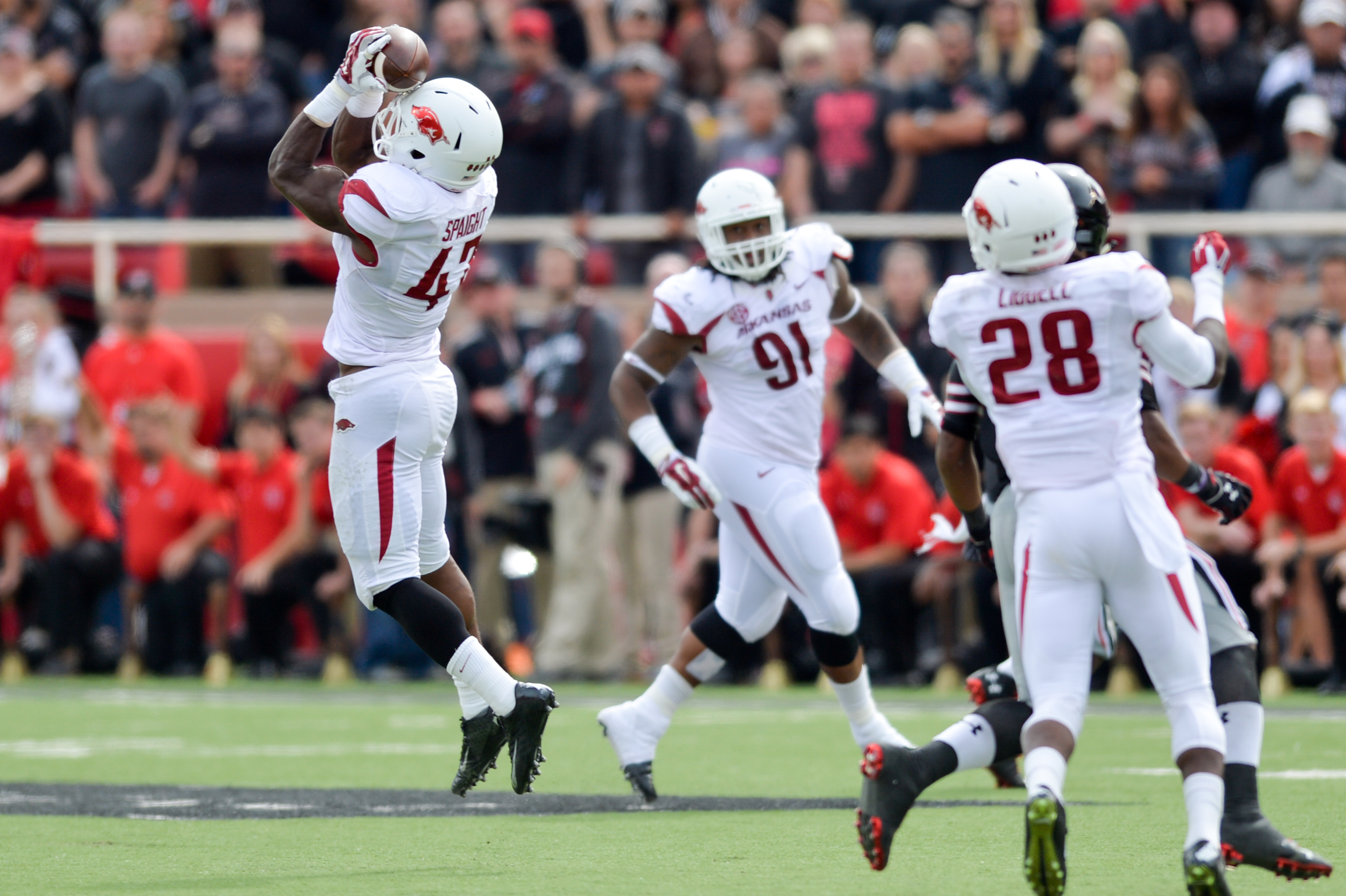 Spaight's interception late in the 2nd quarter just after Arkansas' turnover was one of the plays of the game.