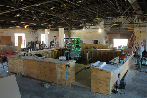 Massive center bar to be finished out with a copper bar top.