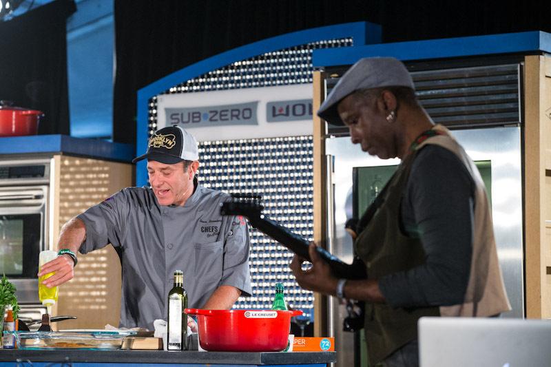 Bruce Bromberg of Blue Ribbon Sushi Bar & Grill cooking with Vernon Reid of Living Colour. Photo: Erik Kabik