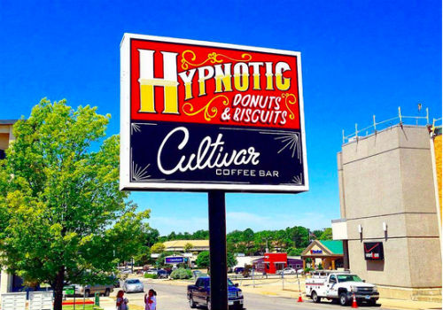 Hypnotic Denton's awesome hand-painted sign.