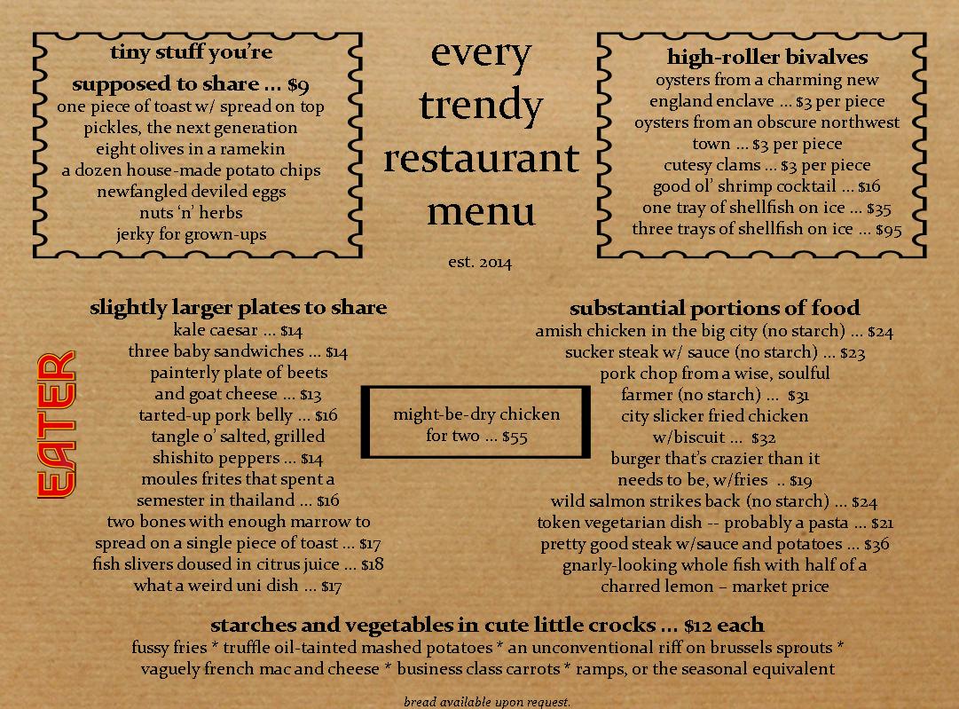 Here's What Every Trendy Restaurant Menu Looks Like