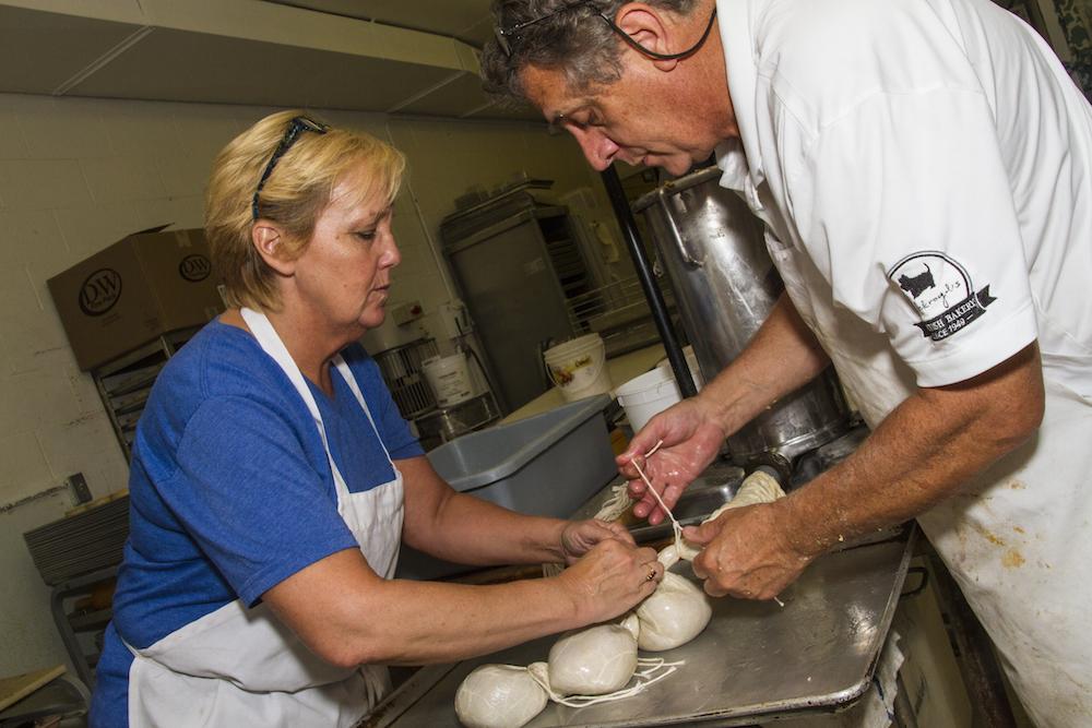 Allan Ackroyd and Anne Johnstone making Haggis at Ackroyd's Scottish Bakery.