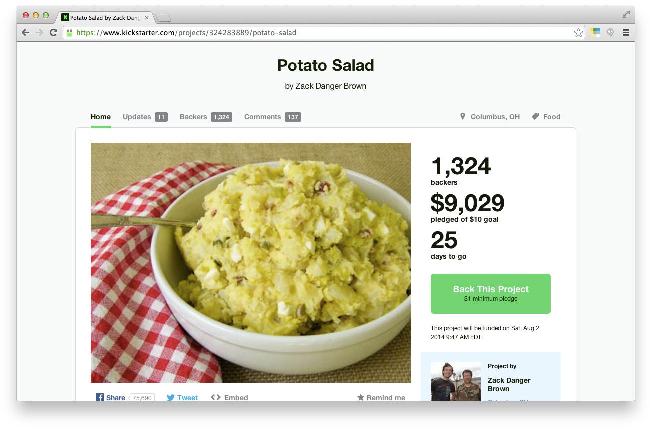 Potato Salad Kickstarter Campaign Brings in Over $37,000