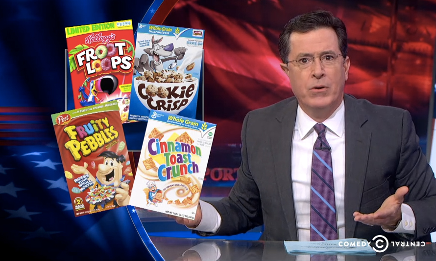 Watch Colbert Wag His Finger at Cereal Manufacturers