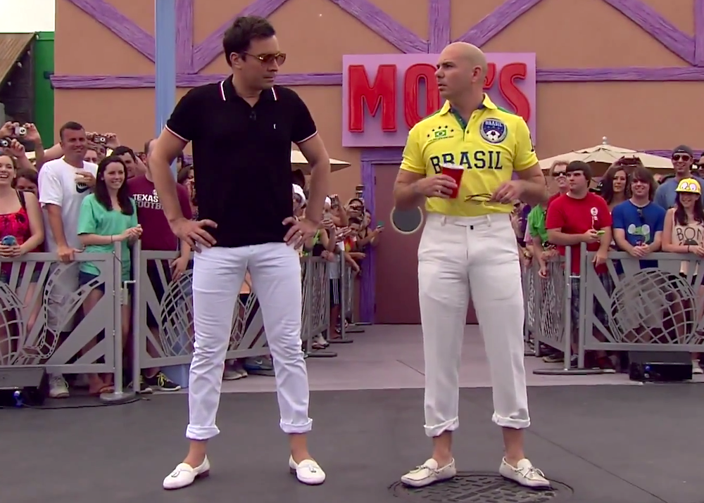 Watch Jimmy Fallon and Pitbull Play Giant Beer Pong