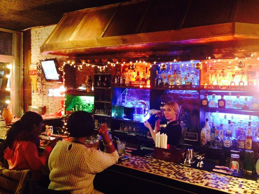 The bar at different Los Pollitos location.