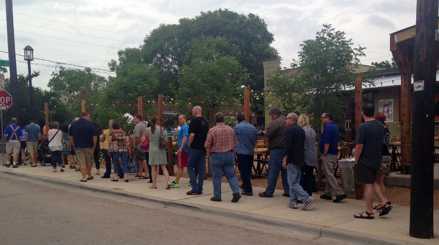 Pecan Lodge's line wrapped around the building.