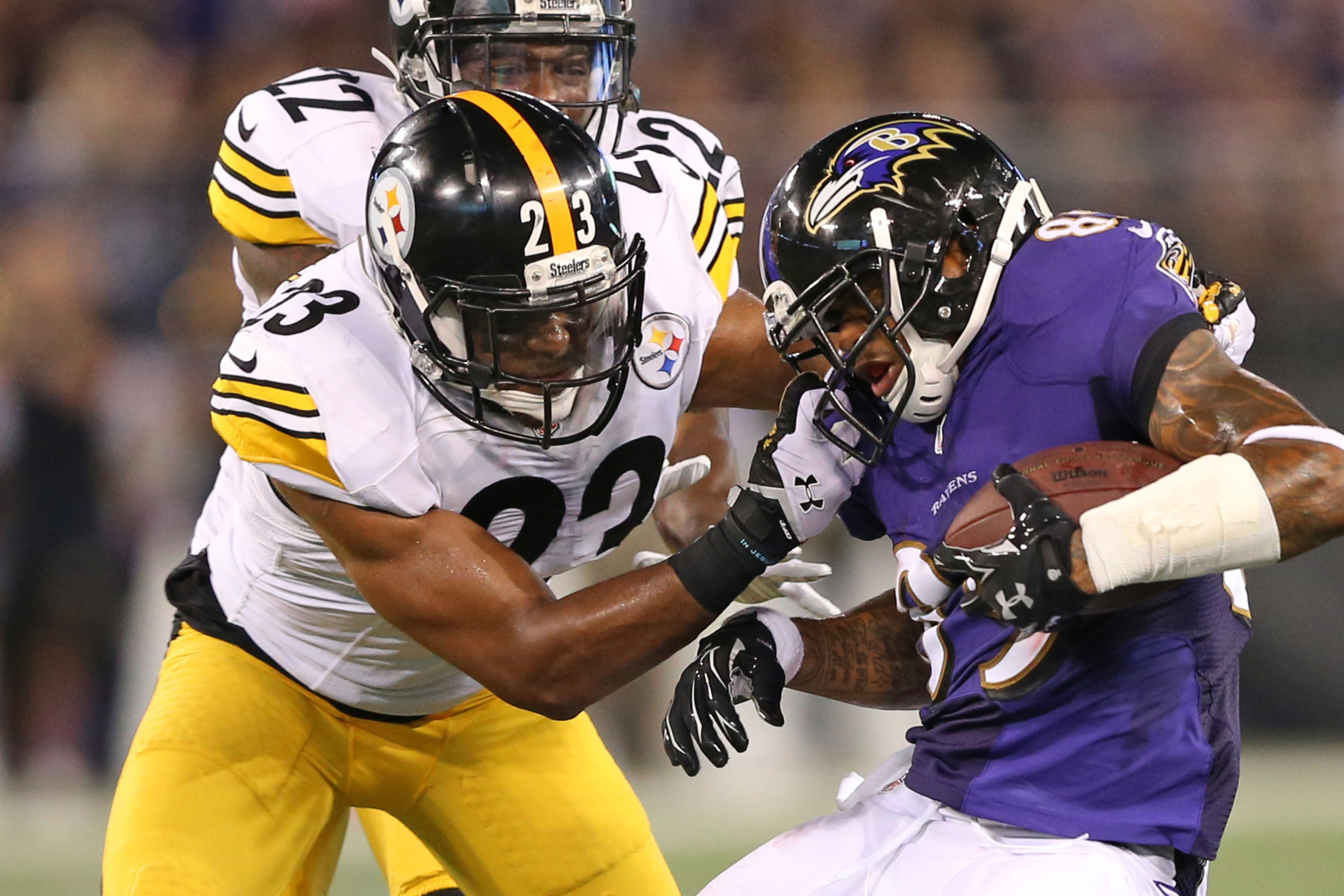 Mitchell gets caught for a facemask penalty against the Baltimore Ravens last Thursday.