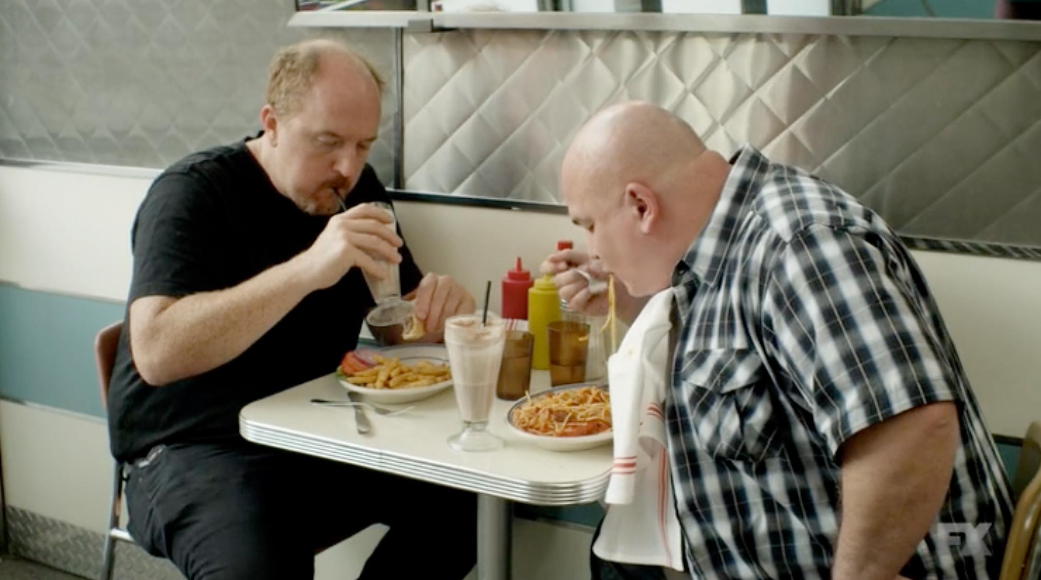 Watch Louis C.K. Eat a Double Dinner, AKA a 'Bang-Bang'