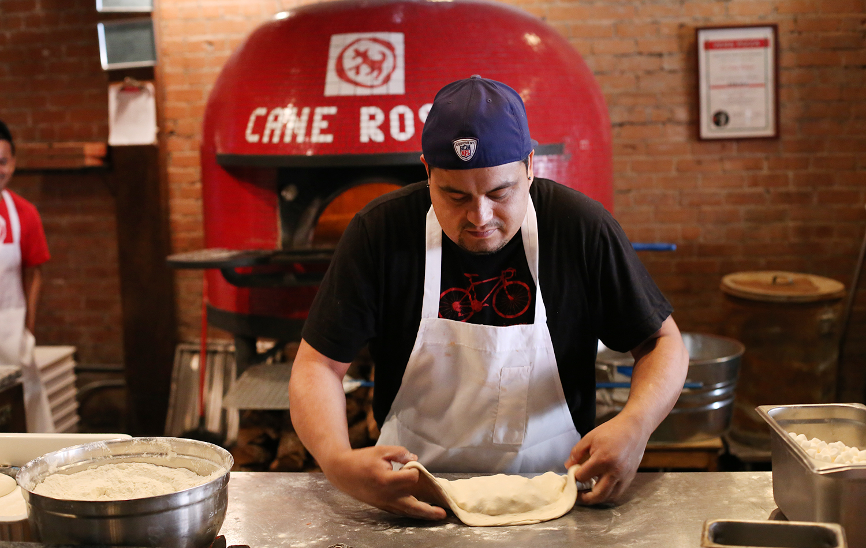 Pizza master Edgar Valdez makes a s'mores calzone.