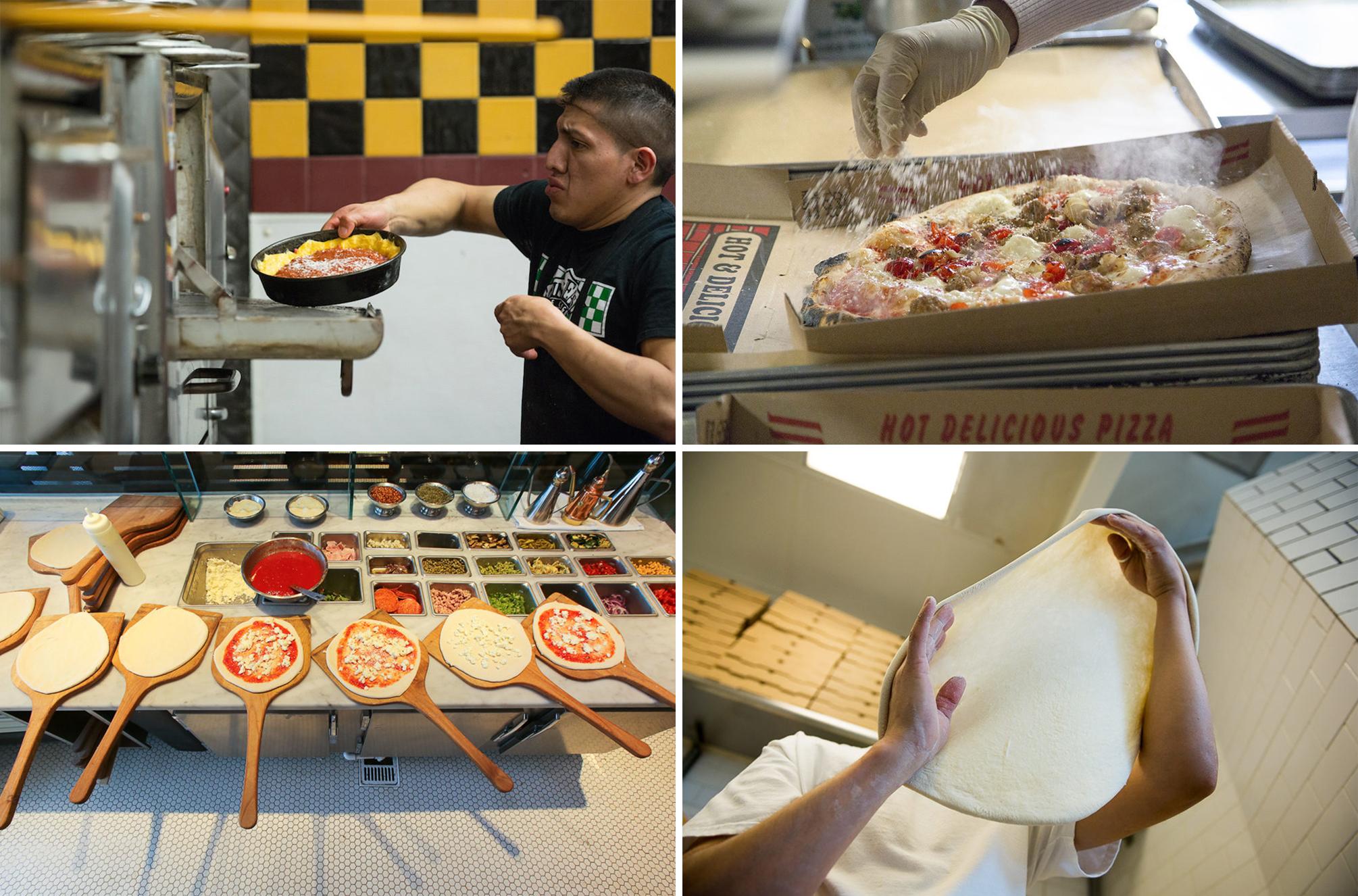 "Clockwise from top left: Gino's East, Chicago [Photo: Justin Barbin]; Antico Pizza Napoletana, Atlanta [Photo: <a href=""http://www.mweats.com/"">Matthew Wong</a>]; 2 Amys, DC [Photo: <a href=""http://underabushel.com/"">R. Lopez</a>]; Pizzeria Locale,"