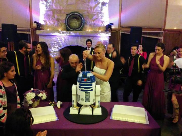 The Shehadeh Missions cut their R2-D2 cake.