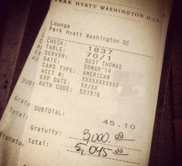 TipsForJesus Strikes Again Leaving a $5,000 Tip in DC
