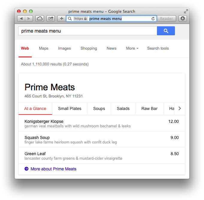 Google Launches Restaurant Menus in Search Results