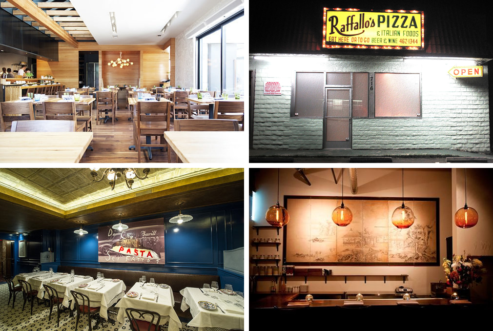 """Clockwise, from top left: <a href=""""http://austin.eater.com/archives/2013/06/07/see-inside-paul-quis-qui-before-it-opens-on-june-20th.php"""">Qui, Austin</a> [Photo: <a href=""""http://adriennebreaux.com/"""">Adrienne Breaux / EATX</a>]; Trois Mec, LA [Photo:"""