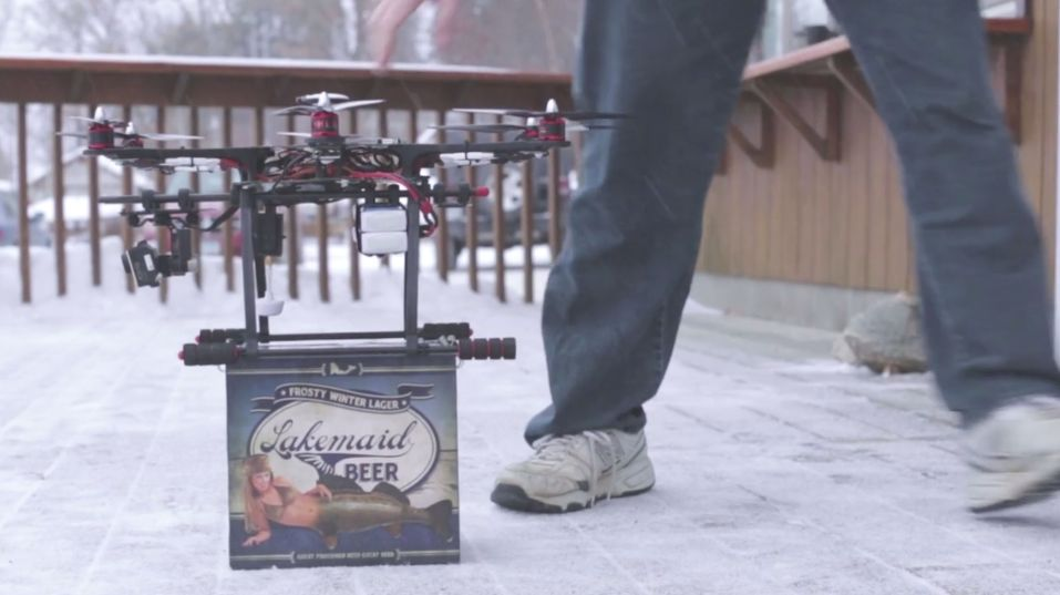 Watch a Drone Deliver Beer to Ice-Bound Fishermen