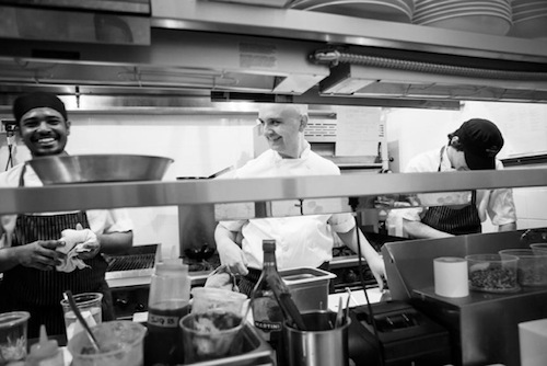 Chef <strong>Eric Wood</strong>, in the middle, shares a laugh with his staff at <strong>The Beverely Hotel</strong> <br>