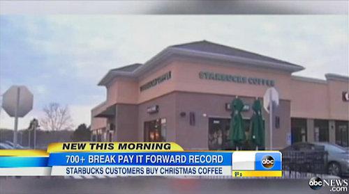 CT Starbucks Pay-It-Forward Chain Tops 800 Cars