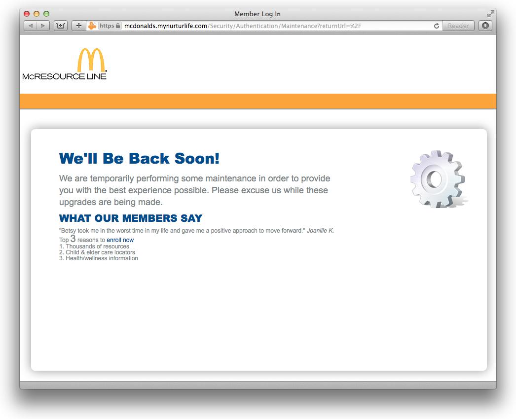 McDonald's Shuts Down Its Employee Resource Website