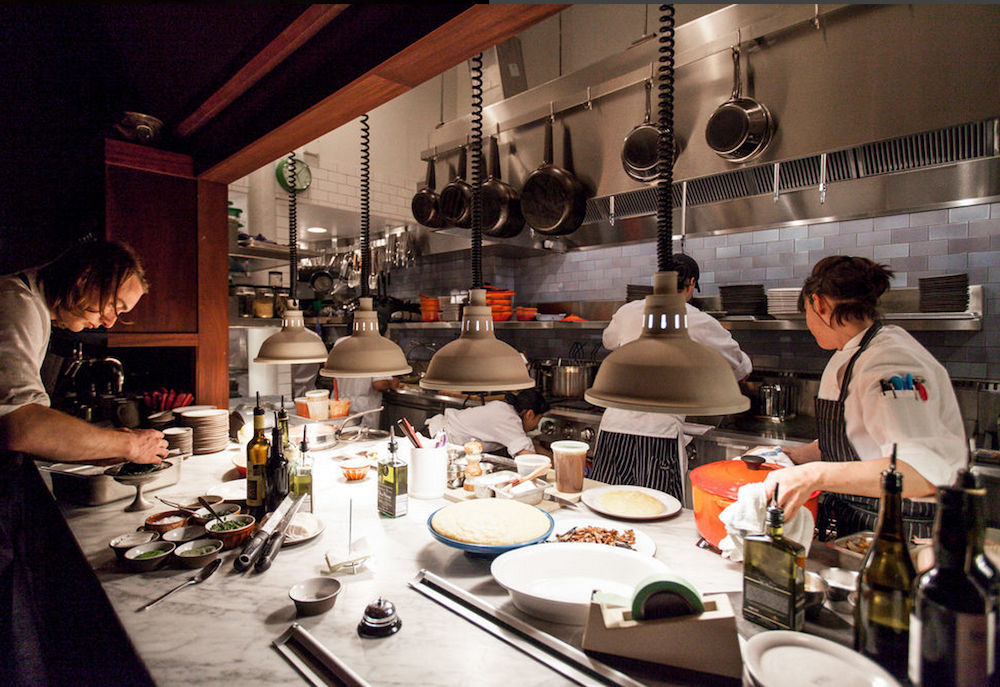 In the kitchen at Tosca.