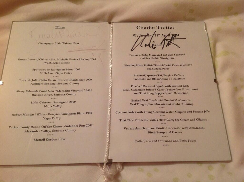 Here Are Menus From Charlie Trotter's Over the Years