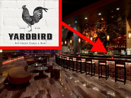 The old Dos Caminos space at the Palazzo and Yardbird Southern Table & Bar logo