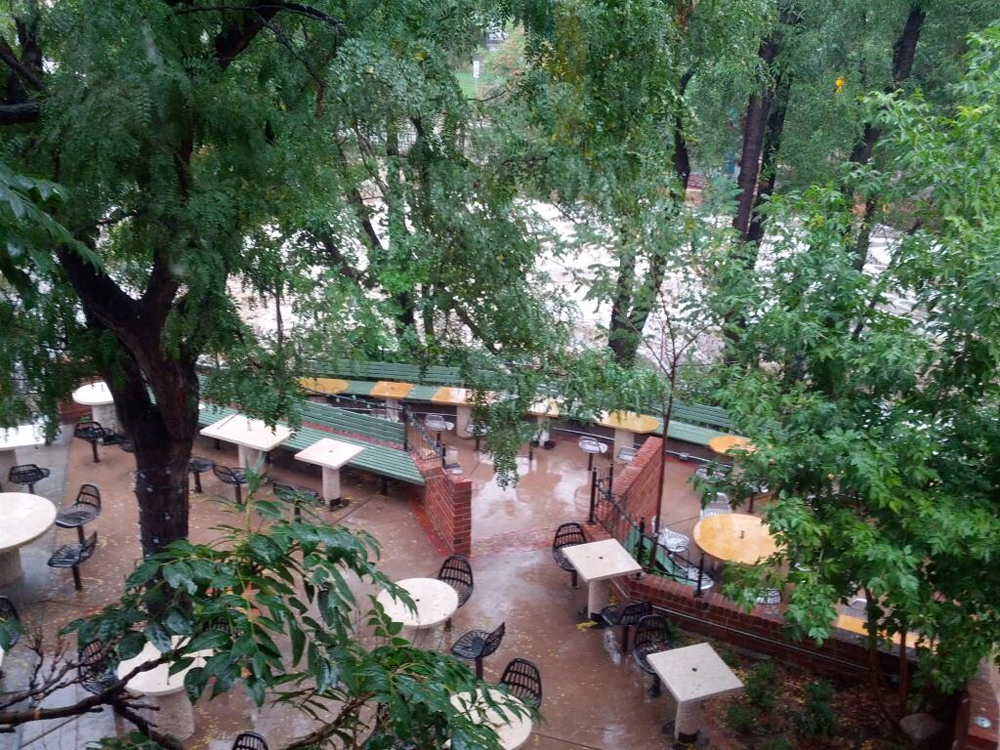 The patio at The Riverside, Boulder, CO, which will be closed tonight.