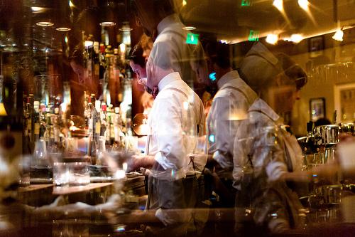Kaleidoscopic mixologists at Comstock's bar.