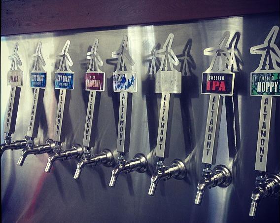 Taps at Altamont Beer Works.