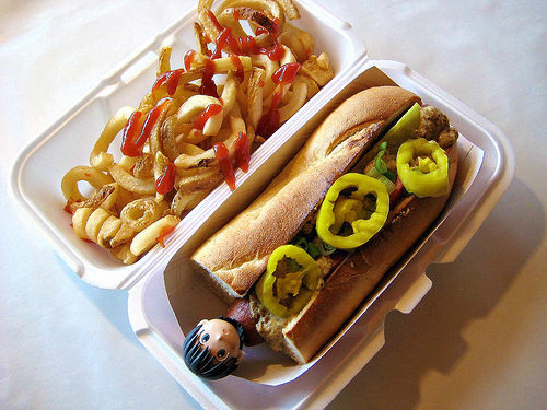 """Fourth of July hot dog from Spike's Junkyard Dogs in North Attleboro/<a href=""""http://www.flickr.com/photos/7422037@N06/9210490788/in/pool-1844845@N22/"""">BlueisCoool</a>"""