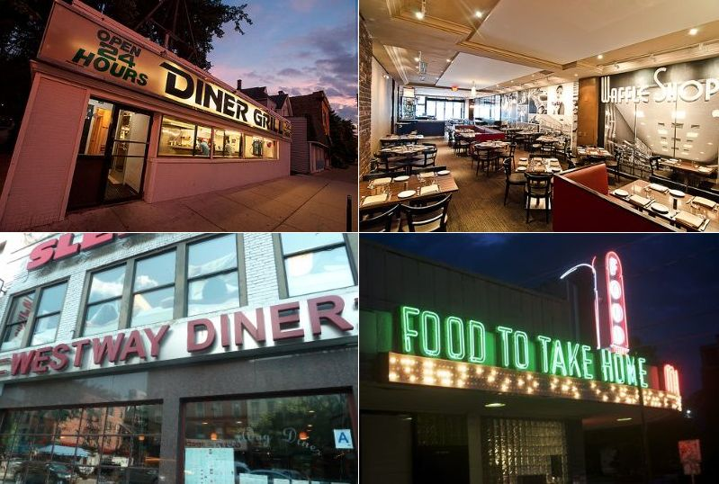 """Clockwise from top left: Diner Grill, Chicago [Photo: <a href=""""http://chicago.eater.com/archives/2013/07/17/the-legendary-slinger-and-dick-burger-at-diner-grill.php"""">Marc Much</a>/ECHI]; Ardero + Bodero, DC [Photo: <a href=""""http://www.underabushel.c"""