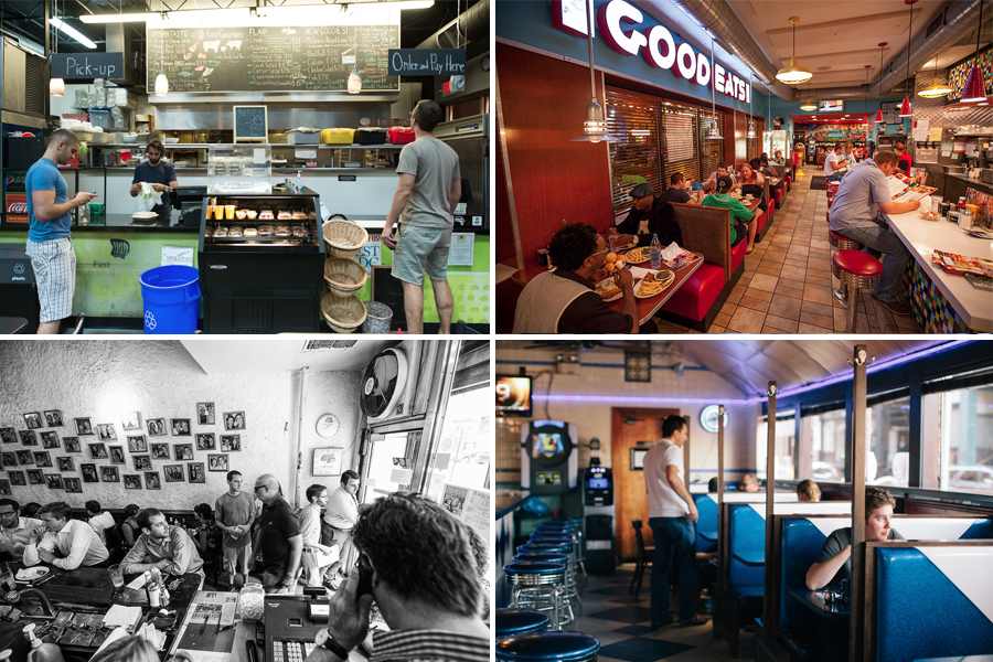 """Clockwise from top left: Fast Gourmet, DC [Photo: <a href=""""http://underabushel.com/"""">R. Lopez</a>]; Hollywood Grill, Chicago [Photo: Marc Much]; South Street Diner, Boston [Photo: <a href=""""http://nickdinatalephoto.com/"""">Nick DiNatale</a>]; Eisenberg"""