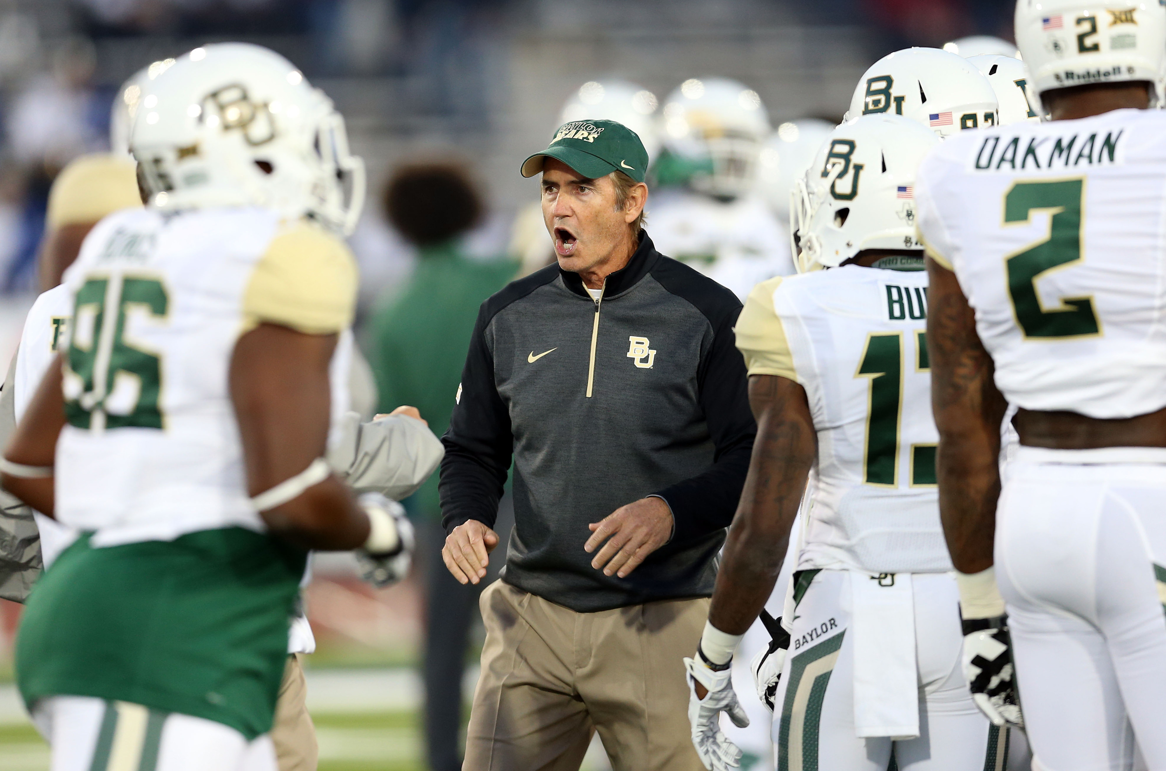 Is it just me, or does Art Briles look like he's doing the Haka here?