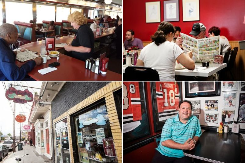 """Clockwise from top left: The Melrose Diner, Philly [Photo: <a href=""""http://philly.eater.com/archives/2013/07/16/lifers-karen-donahue-of-the-melrose-diner.php"""">Eater Philly</a>]; The Egg &amp; I, Minneapolis [Photo: <a href=""""http://www.katiecannonpho"""