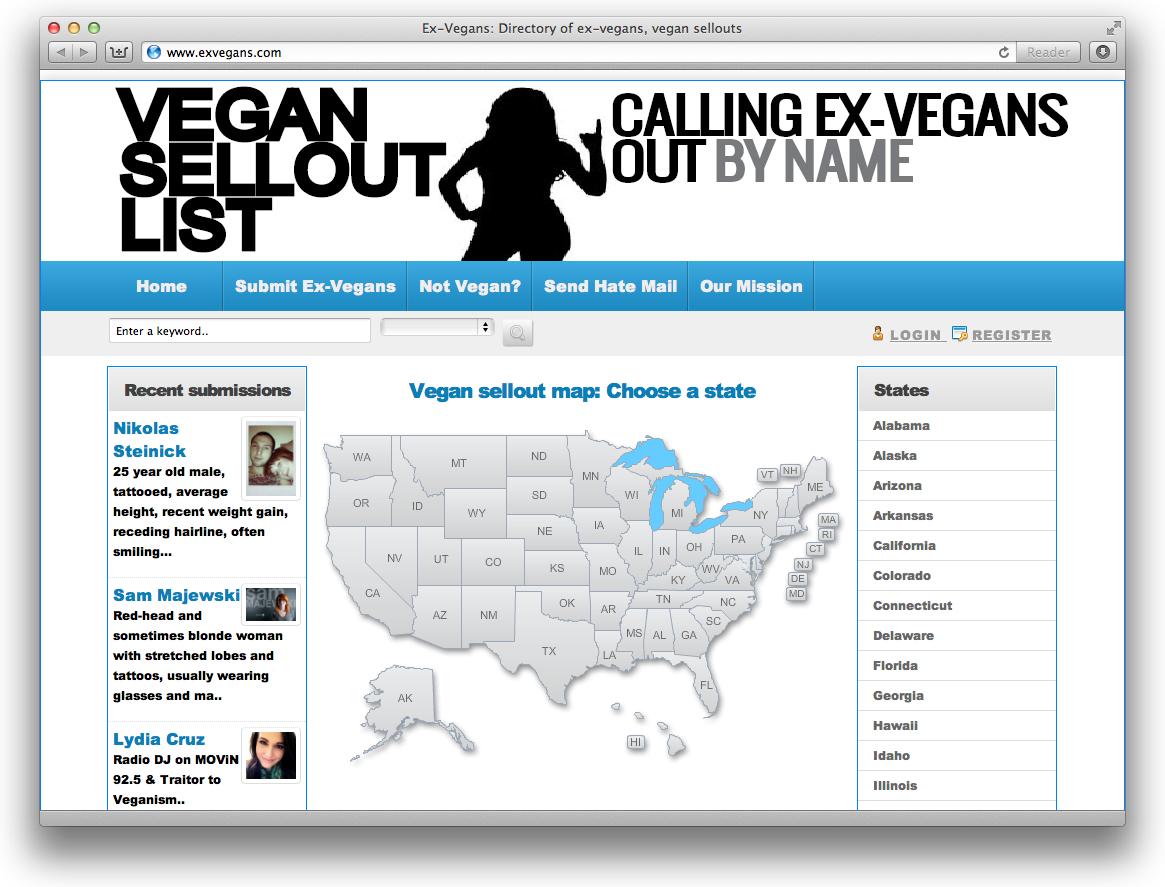 Extremist Vegan Website Names and Threatens Ex-Vegans