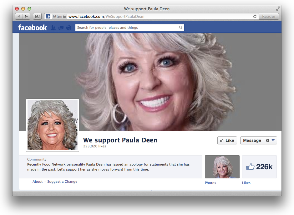 'We Support Paula Deen' Facebook Page Up to 226K Likes
