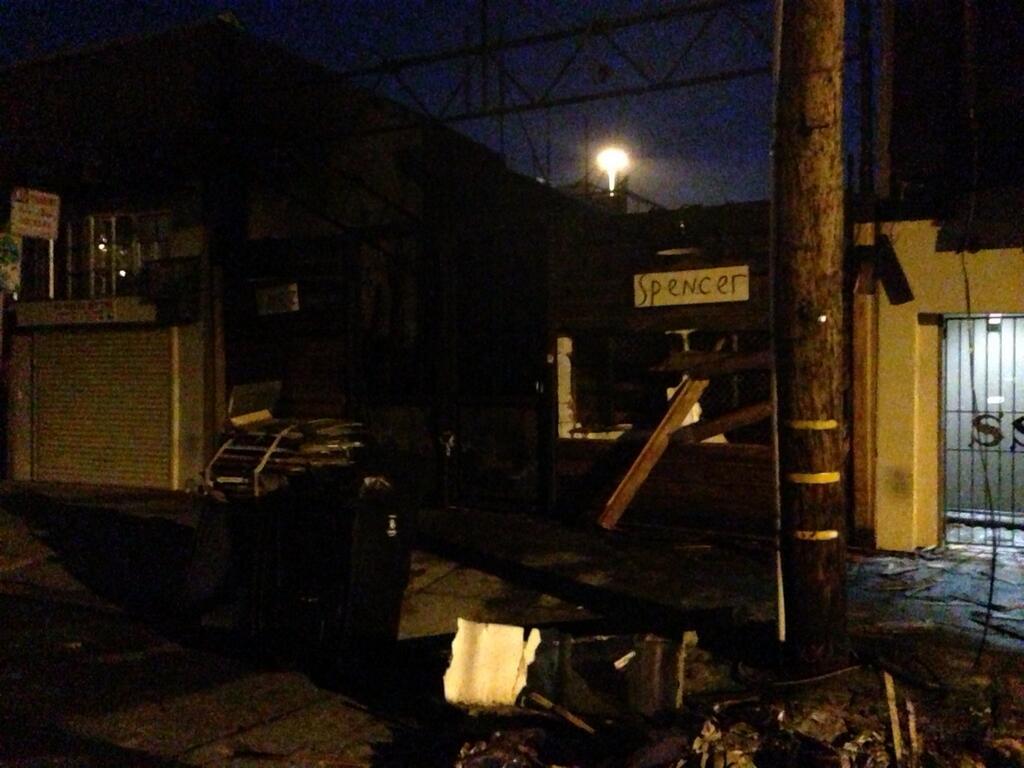 The damaged Chez Spencer, late last night.