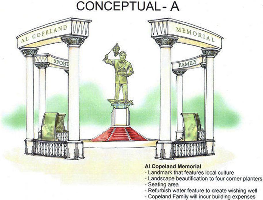 A sketch of the proposed Al Copeland memorial.