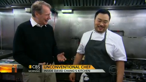 David Chang Shows Charlie Rose How to Fry Chicken