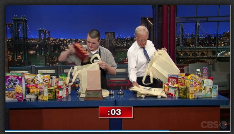 Watch the Winning Admiral Grocery Bagger on Letterman