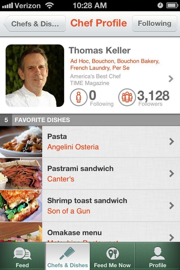 A sample of the chef's profile on Chefs Feed.