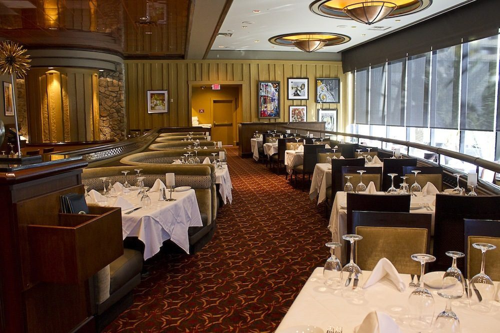 The dining room, with its views of the Strip, at Ruth's Chris.