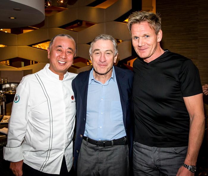 Nobu Matsuhisa and Gordon Ramsay with Robert DeNiro at the opening of Nobu Restaurant & Lounge