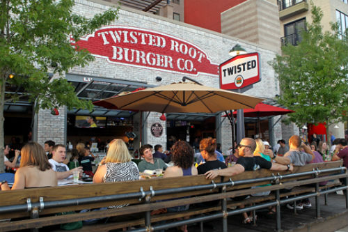 The patio at Twisted Root on SMU Blvd.