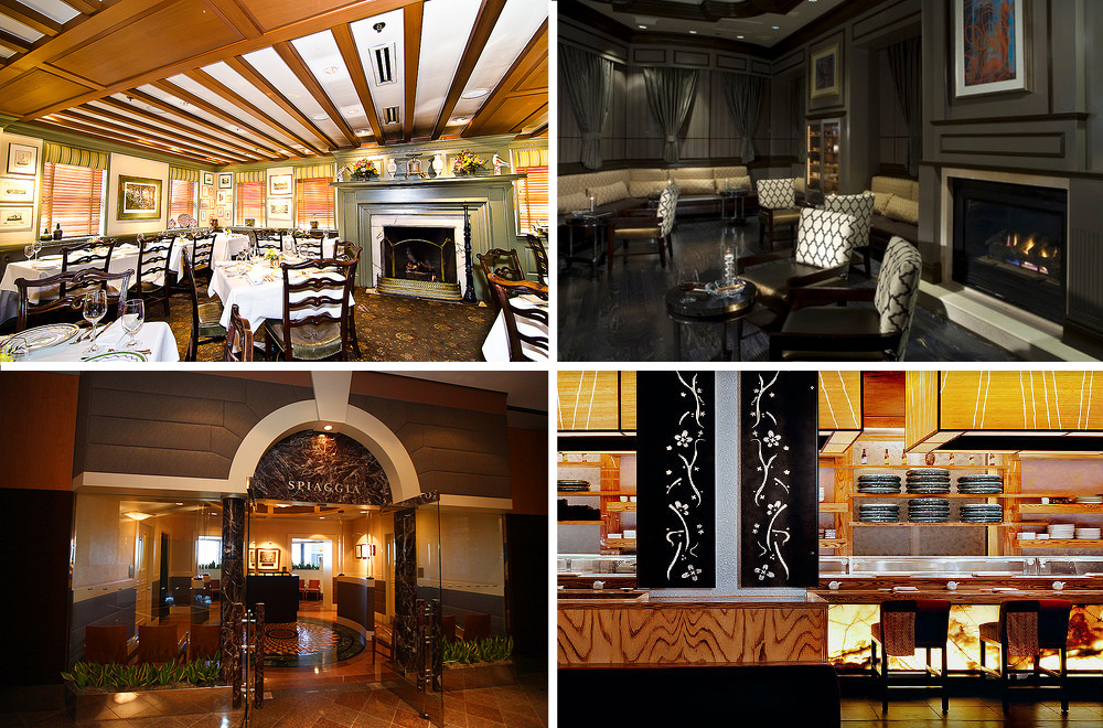 """Clockwise, from top left: 1789, Washington, DC [Photo: <a href=""""http://underabushel.com"""">R. Lopez</a>]; Andre's Lounge, Las Vegas [Photo: Andre's Lounge]; Nobu, Dallas [Photo: <a href=""""http://www.noburestaurants.com/dallas/experience/introduction/"""">"""