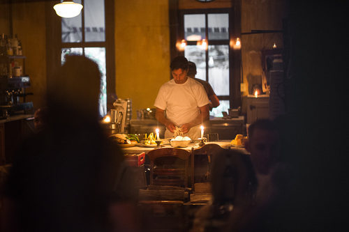 Mark Iacono works on a pizza at Lucali in Caroll Gardens