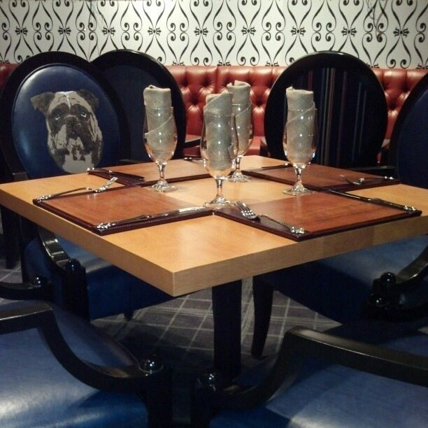 Gordon Ramsay tweeted this photo of the dining room with Rumpole on the chairs.