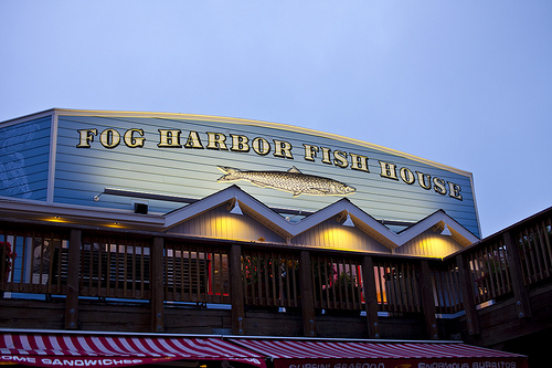 Fog Harbor Fish House at night.